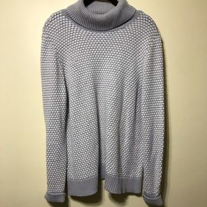 Gray and white turtleneck sweater